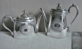 Stunning Antique Victorian Walker & Hall English Silver Epns Tea Coffee Pot Set photo