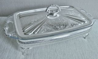 Stunning Vintage Footed Silver Plate & Pyrex Liner Casserole Serving Dish Tureen photo