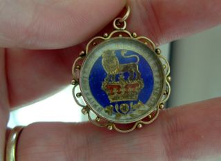Antique 1826 George 1v Enamel Coin & 9ct Rose Gold Hallmarked Cased Fob Charm photo