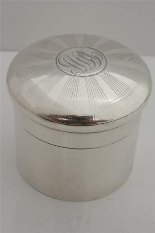 Charles Fox,  Solid Silver Vanity Jar/ Pill Box,  1903 London,  105 Gram photo