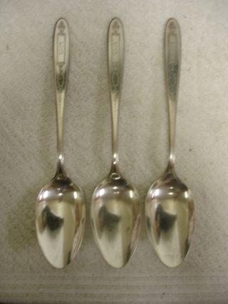 Set Of 3 Community Grosvenor Silverplate Flatware Serving Spoons 1921 photo