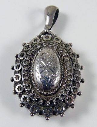 Antique Victorian Large Solid Sterling Silver Locket - Hallmarked photo