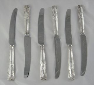 6 Quality Vintage Arthur Price Kings Pattern Heavy Silver P & Ss Dessert Knives photo