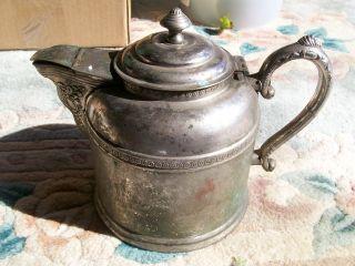Antique Vintage Silver Over Copper Ornate Coffee Tea Pot Old Silverplate Pot photo