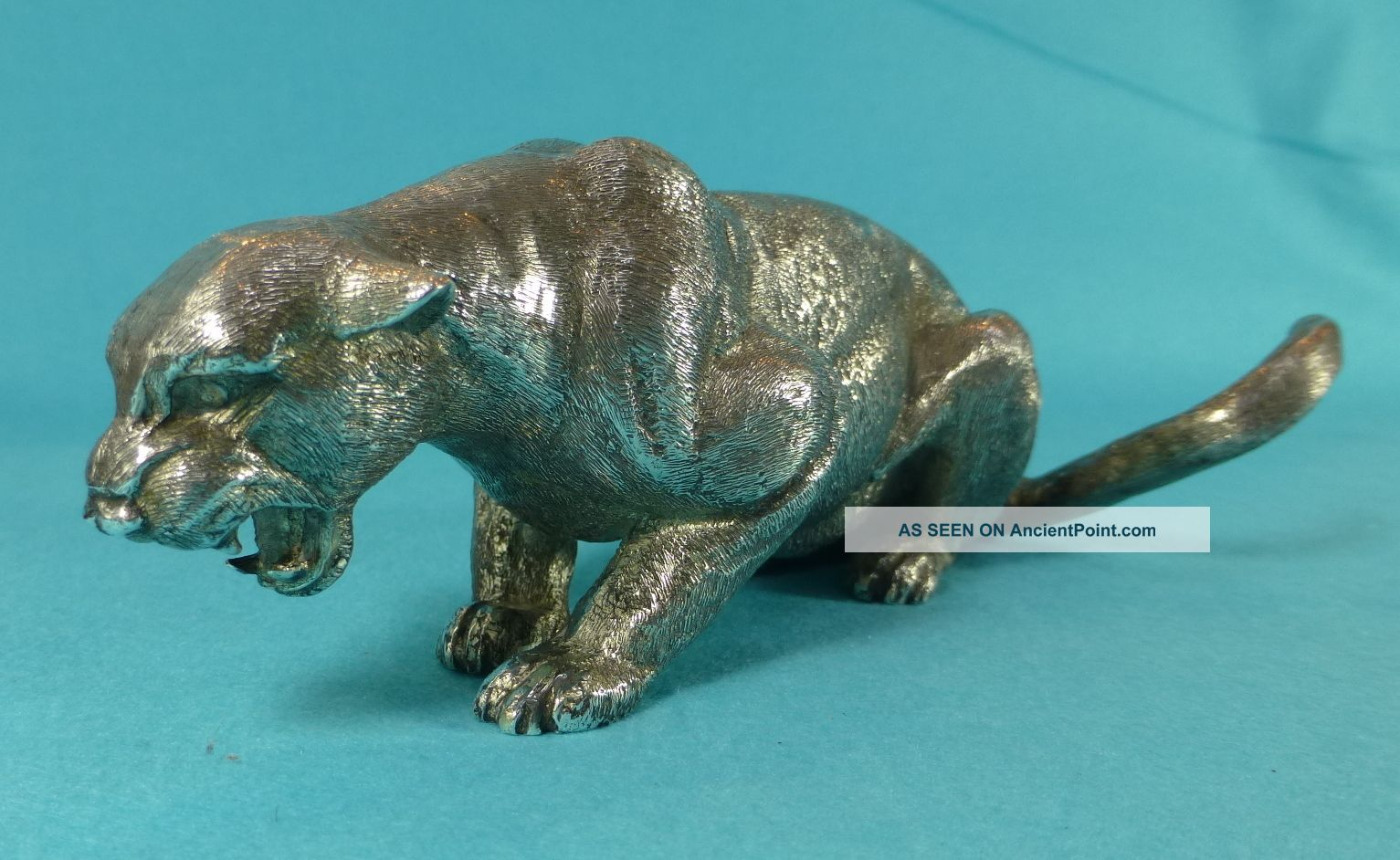 Stunning Sterling Silver Model Statue Crouching Cougar Cat London 1969 Statues photo
