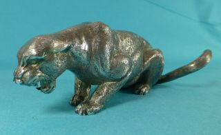 Stunning Sterling Silver Model Statue Crouching Cougar Cat London 1969 photo