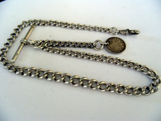 Antique 1898 English Hallmark Silver Graduated Albert Pocket Watch Chain & Fob photo