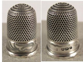 Very Fine Victorian Silver Thimble.  Chester Hallmarked.  1892 Maker Tbs photo