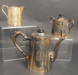 Vintage Silver Plate English Teapot With Creamer And Sugar Bowl photo