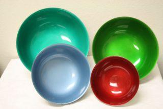 Set Of 4 Reed & Barton Silverplate & Colored Enamel Nesting Bowls photo