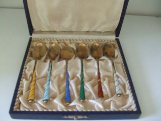 Danish Ela Enamel Gold Plated Sterling Silver Vermeil 6 Demitasse Spoons Denmark photo