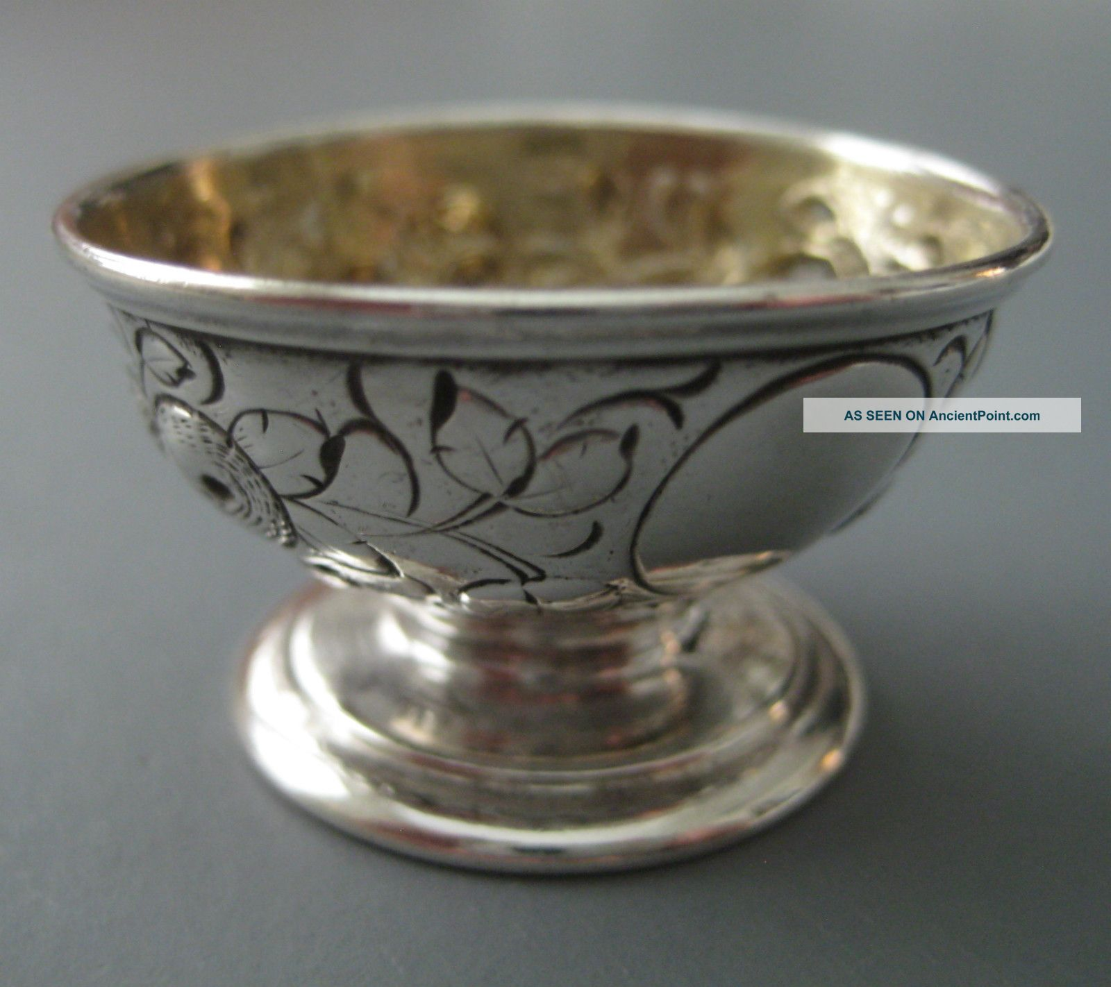 Brilliant Cut Coin Silver Salt Cellar A E W Andrew Elliot Warner 1850s Mint Coin Silver (.900) photo