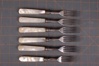 Fine 6 Antique Silverplate Flateware Forks English Mother Of Pearl Handle photo