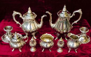 Wallace Baroque 9 Pc Silver Plated Tea & Coffee Set S&p + Pair Candlesticks photo