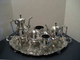 Rare Antique Victorian Art Deco Silverplated Taunton 6 Piece Tea Set,  Service photo