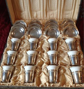 Antique Lenox With Reed And Barton Sterling Silver Demitasse 12 Pc Set photo