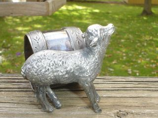 Antique Victorian Figural Silverplate Napkin Ring Holder Little Ewe Lamb Sheep photo