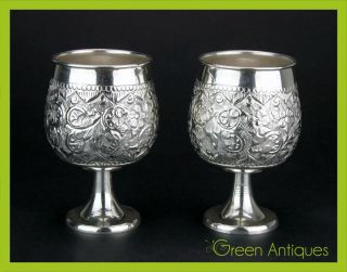 Antique Style 20thc Pair Of Solid Silver Brandy / Spirit Goblets C.  1980 photo