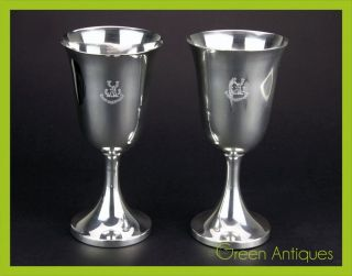 Modern 20thc Pair Of Solid Silver Wine Goblets,  Henry Williamson,  London C.  1993 photo