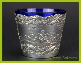 Antique 19thc Victorian Solid Silver & Glass Beaker / Cup,  Sheffield C.  1898 photo