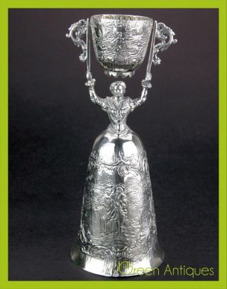 Antique 19thc German Solid Silver Wager / Marriage Cup,  Nurnberg City C.  1890 photo