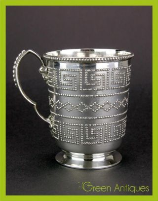 Antique 19thc Victorian Solid Silver Cup Mug,  Robert Hennell Iii,  London C.  1866 photo