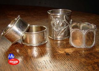 4 Vintage Sterling Silver Napkin Rings photo