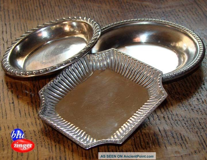 3 Vintage Sterling Silver Nut Dish Trays Dishes & Coasters photo