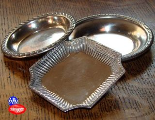 3 Vintage Sterling Silver Nut Dish Trays photo