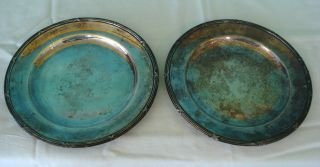 Vintage Pair Of Silverplated Plates W/ A Stamped Mark 7