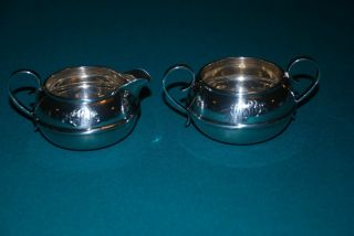 Tuttle Silversmith ' S Sterling Silver Sugar Bowl And Creamer photo