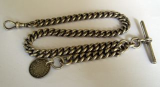 Antique 1893 Full English Hallmark Silver Albert Pocket Watch Chain & Fob 57.  6g photo