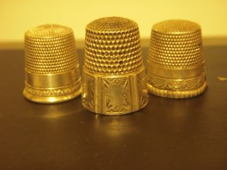 Vintage Sterling Silver.  925 Thimbles 3 photo