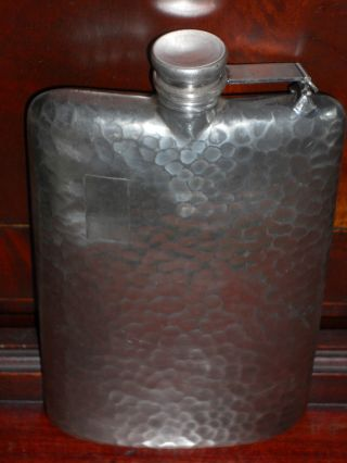Antique Apollo Silverplate Hammered Flask,  1890 ' S (?),  7