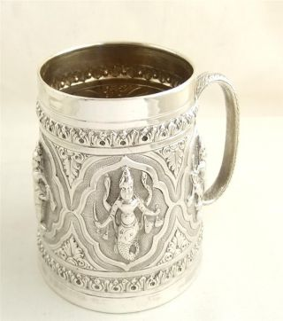 Antique Indian Silver Mug/tankard - 134g - Hindu Gods photo