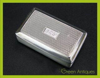 Antique 19thc Georgian Solid Silver Snuff Box,  Birmingham C.  1825 photo