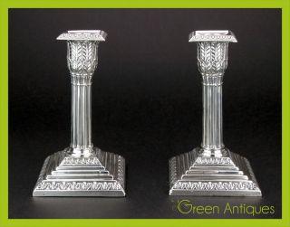 Antique 19thc Victorian Solid Silver Pair Of Candlesticks,  William Hutton C1892 photo