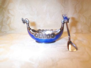 Theodore Olsen Viking Ship Salt Celler With Spoon Norway Silver photo
