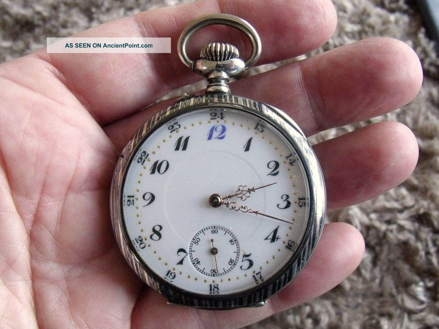 Silver Niello Pocket Watch - Swiss 15 Jewel Movement - C1910 Pocket Watches/ Chains/ Fobs photo