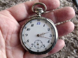 Silver Niello Pocket Watch - Swiss 15 Jewel Movement - C1910 photo
