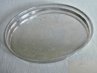 Vintage X Large Oval Pierced Chased Silver P Gallery Butler Tray Salver photo
