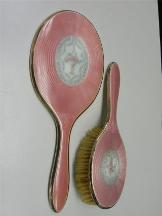2 Art Deco Guilloche Pink Enamel Basket Sterling Silver F&b Hand Mirror Brush photo