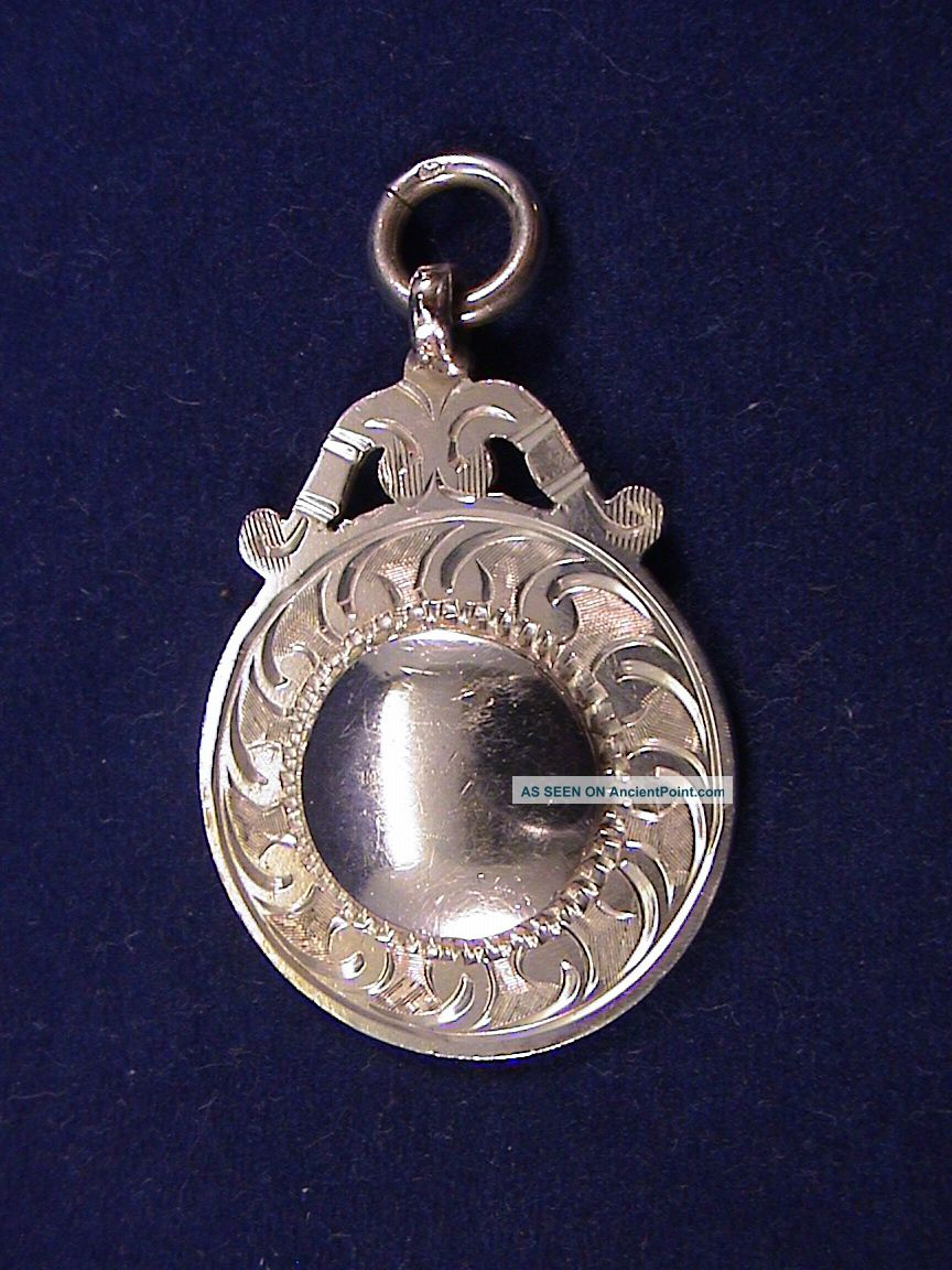 Mint – Art Deco Solid Silver Watch Fob –by Herbert Bushell & Son Ltd – 1921 Pocket Watches/ Chains/ Fobs photo