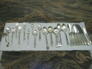33 Piece Rogers Brothers 1847 Adoration Silverware - Plus 3 Sterling Pieces photo