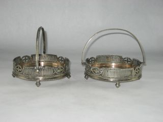 Antique Victorian John Sherwood & Sons Silverplate Handled Baskets / Set Of 2 photo