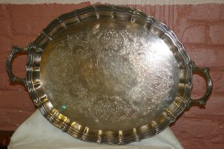Webster Wilcox English Flutes Silverplate Huge Waiter Tray International Silver photo