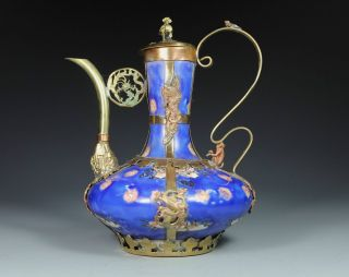 Chinese Old Porcelain Handwork Painting Flower Dragon Phoenix Tea Pot photo