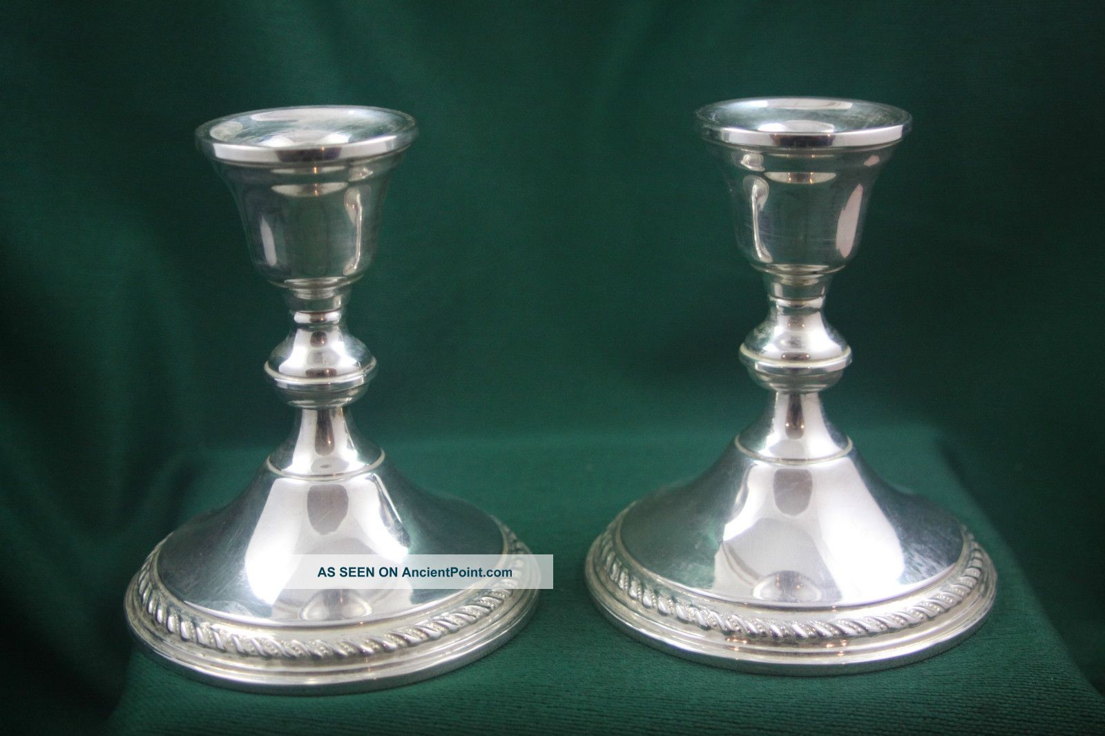 Vintage Pair Of Preisner Sterling Silver Candlesticks Candle Holders Candlesticks & Candelabra photo