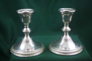 Vintage Pair Of Preisner Sterling Silver Candlesticks Candle Holders photo