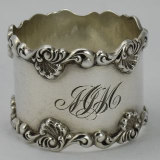 Fab Wide Towle Shell Border Sterling Napkin Ring photo